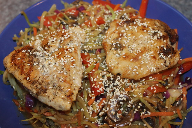 Chicken with Sesame Broccoli Slaw