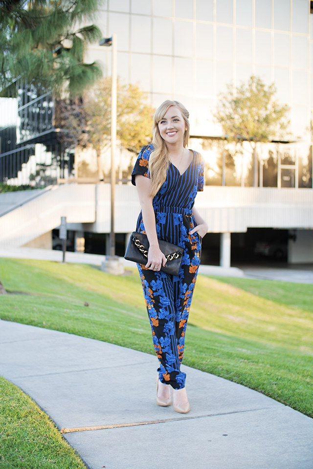striped and floral jumpsuit