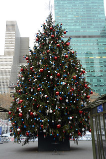 Picture Of Bryant Park 2014 Christmas Tree Now Fully Decorated In New York City.  The Tree Is A 50-Foot Norway Spruce And Will Be Lit In Bryant Park On Tuesday December 2, 2014 At 6:00PM. Picture Taken Monday December 1, 2014