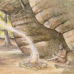 Hunter gatherer sitting under sandrock by Valerie Alford