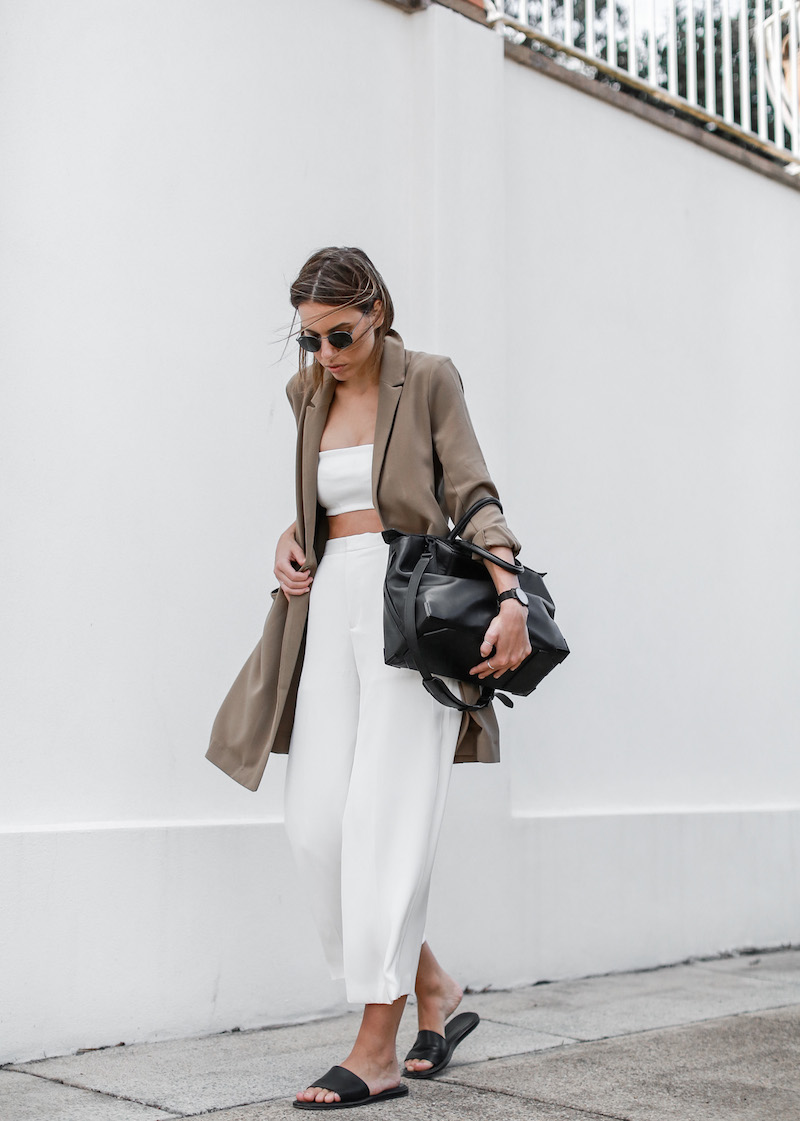modern legacy fashion blog Australia street style ASOS camel boyfriend blazer Josh Goot white bandeau top culottes slide sandals inspo (7 of 10)