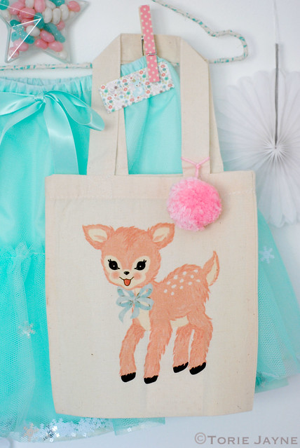 Flora the Fawn Mini Cotton Tote Bag with Pom Pom