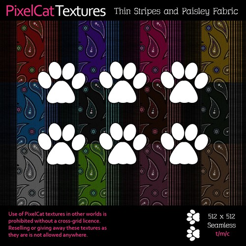 PixelCat Textures - Thin Stripes and Paisley Fabric