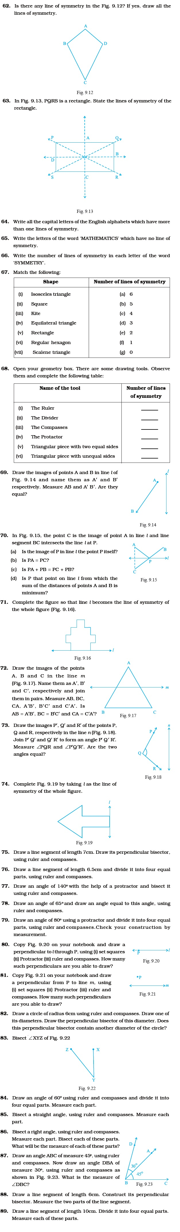 class 6 important questions for maths symmetry and practical other important type questions symmetry and practical geometry