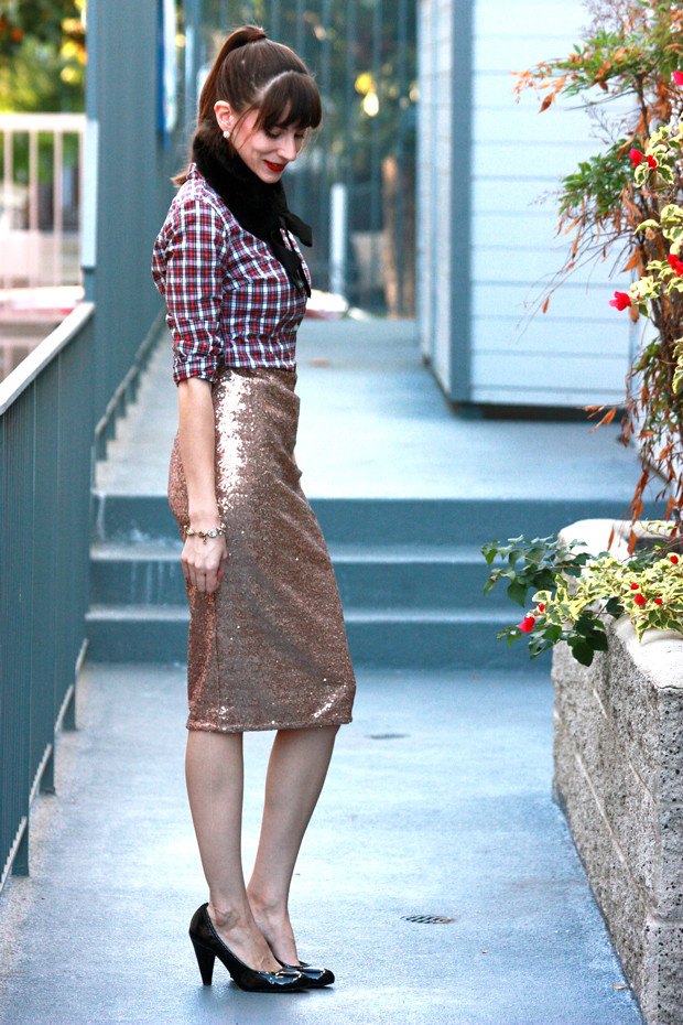 Sequin Skirt, Holiday Outfit, Plaid Shirt