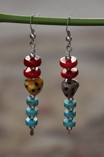 Red Coral, Howlite Turquoise and Spotted Porcelain Beaded Earring Set E-0150