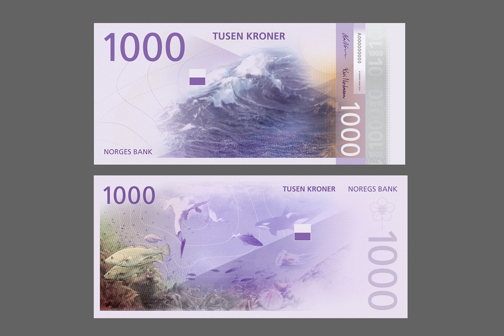 Norwegian new bank notes, design by Metric, illustration by Terje Tonnesen
