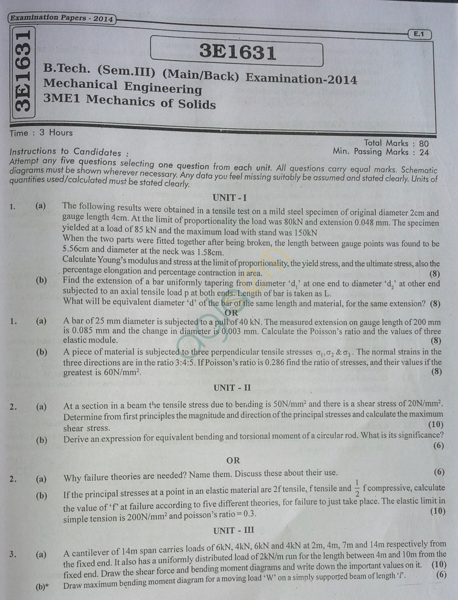 RTU: Question Papers 2014 - 3 Semester - ME - 3E1631