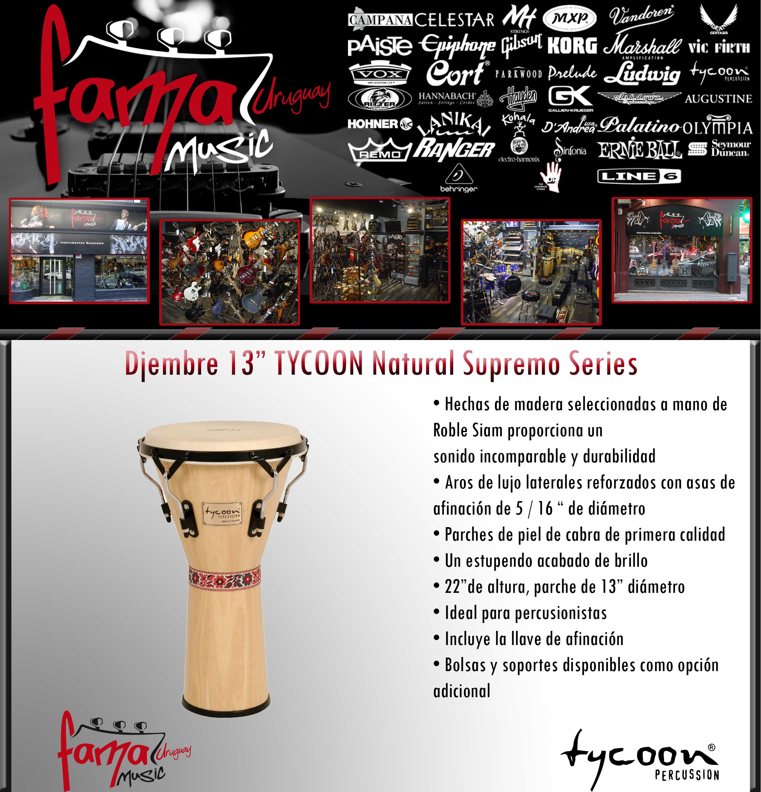 """Djembre 13"""" TYCOON Natural Supremo Series"""