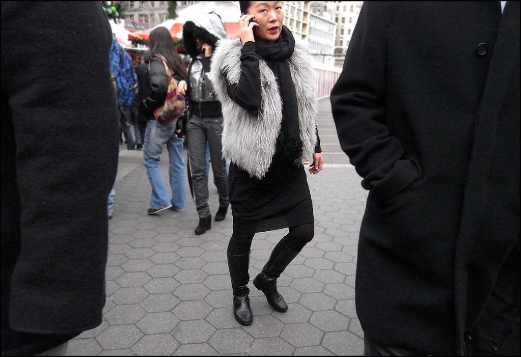 SS1-15  4w long sleeve black dress riding boots black scarf grey lamb vest