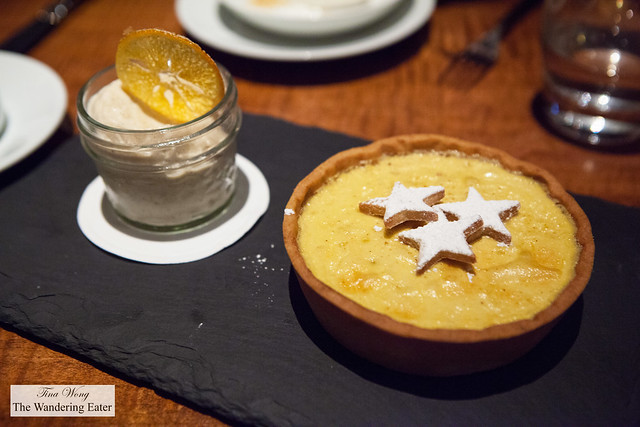 Orange Custard Pie for Two, Raisins, Clementine and Tea Sherbet