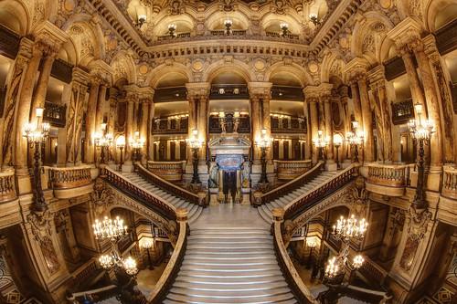 The grand staircase in the Palais Garnier, Paris
