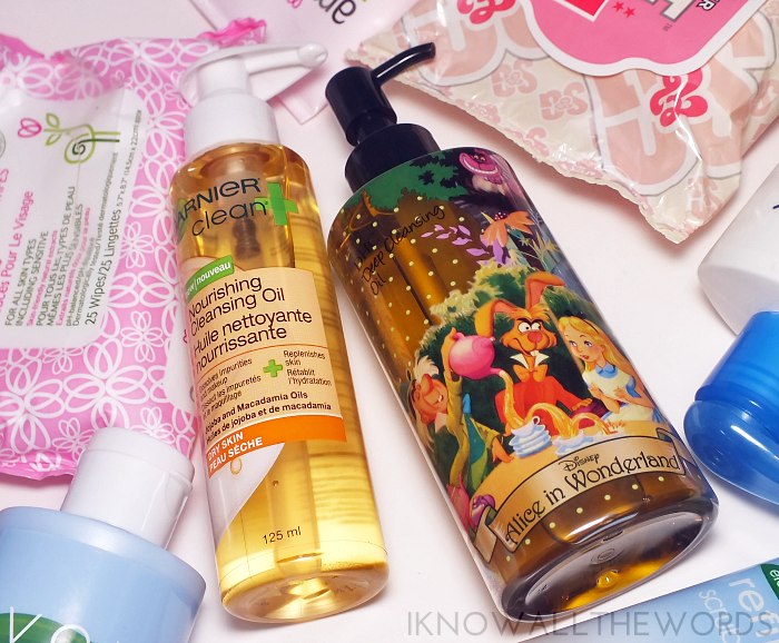 garnier nourishing cleansing oil and DHC cleansing deep oil