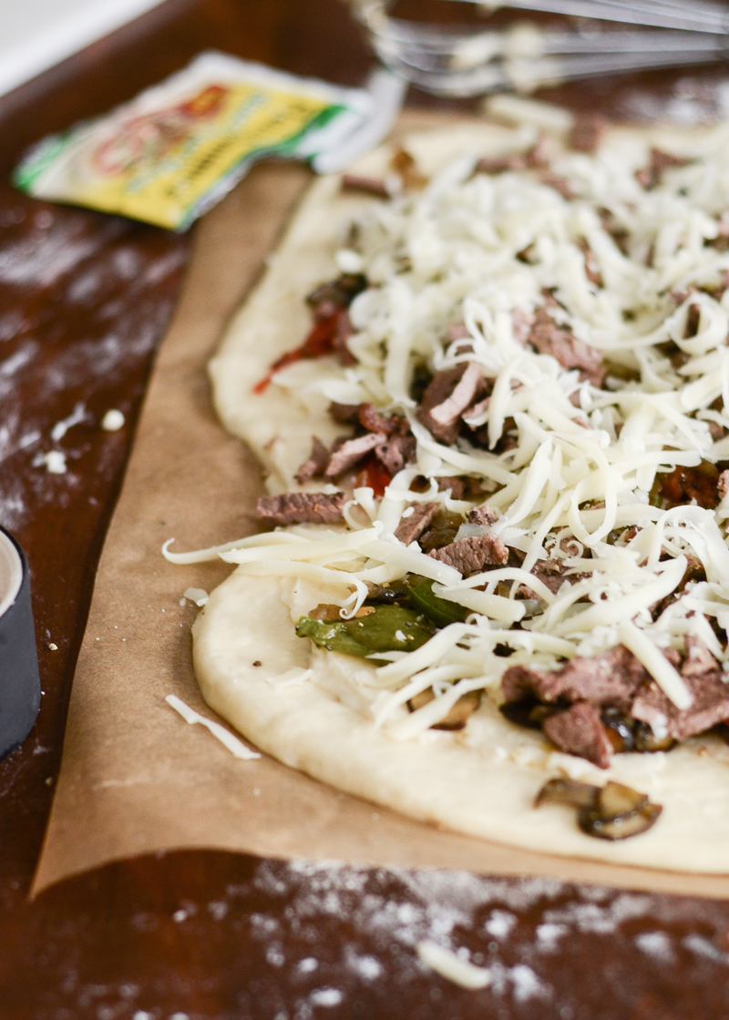 Philly Cheese Steak Pizza | Buttered Side Up