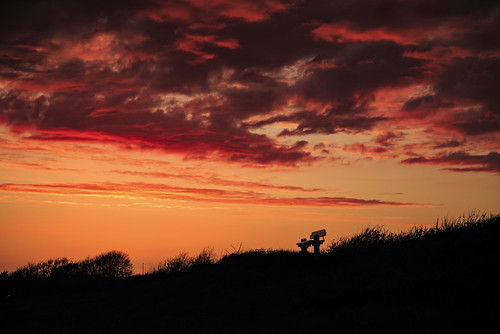 sunset red sky cloud silhouette bench skyscape landscape denmark view outdoor dyke lolland lonelybench maglehoej