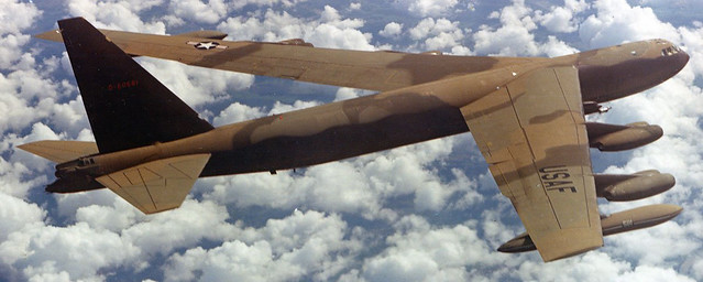 A B-52 flies over Vietnam in October 1966.