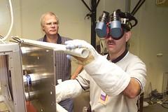 Astronaut John M. Grunsfeld uses virtual reality hardware