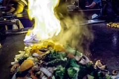 food being brepared at japanese steakhouse