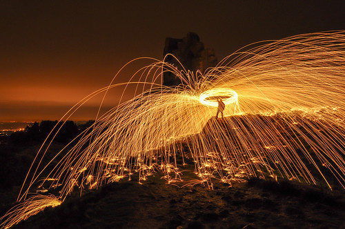 light red sky castle skyline night lowlight trails nightsky lighttrails sparks bounce