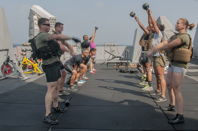 USS San Diego Sailors and Marines Participate in a HERO Workout to Honor Veterans