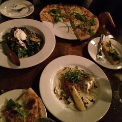 @emberrestaurant the 6 #Cheese #Pizza, Beef Carpaccio and Warm #Spinach Salad #Awesome #ShareSLO @emberwoodfire