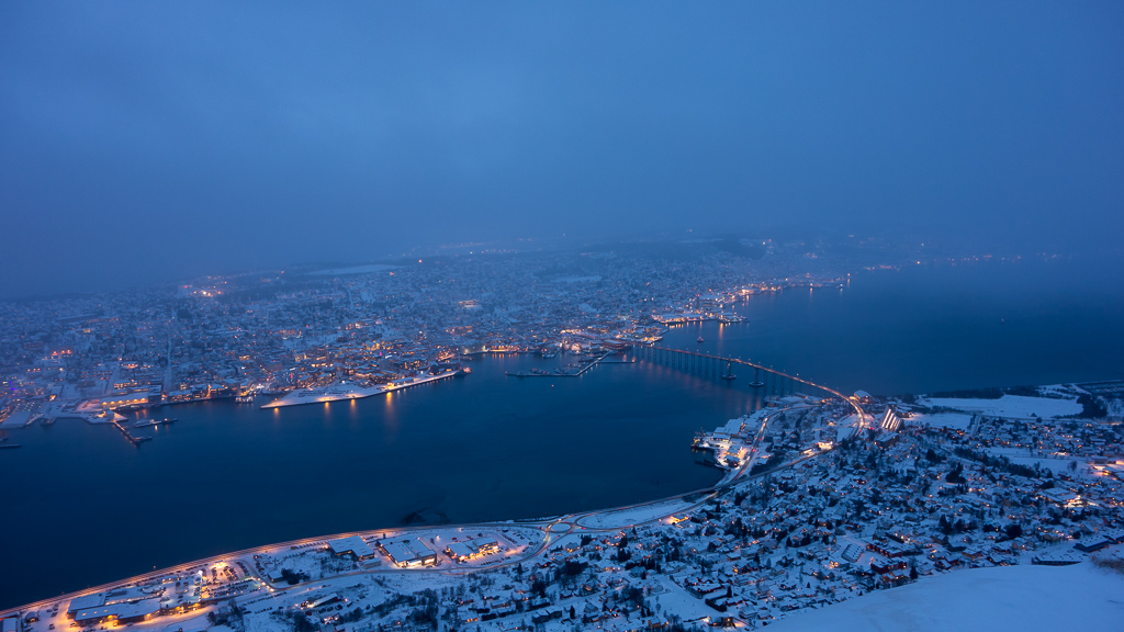 Winter darkness over Tromsø, Northern Norway