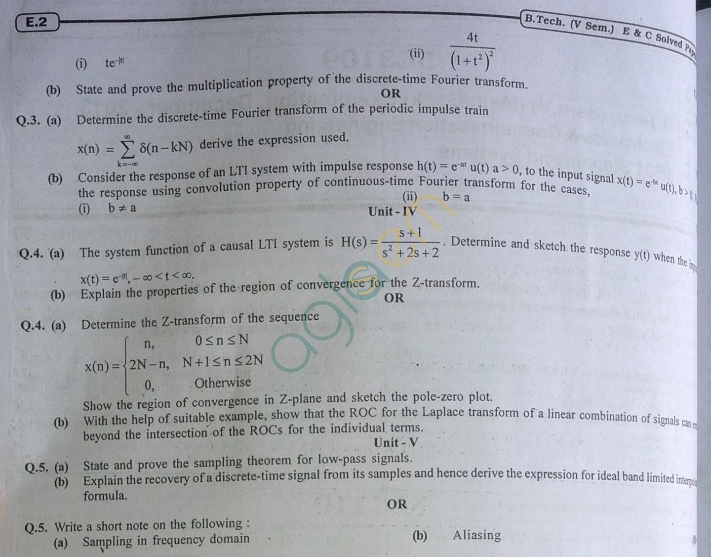 RTU: Question Papers 2013 - 5 Semester - EC - 5E3109