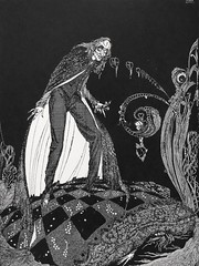 """""""But, for many minutes, the heart beat on with a muffled sound."""" Art by Harry Clarke for Poe's """"The Tell-Tale Heart"""" (1936)"""