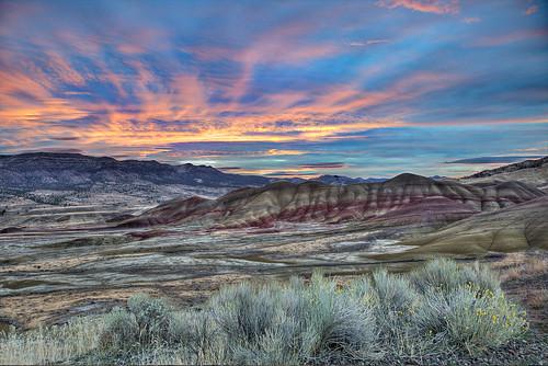 oregon sunrise landscape pacificnorthwest paintedhills hdr johndayfossilbedsnationalmonument canon24105mm canon6d hdrpro cloudsstormssunsetssunrises