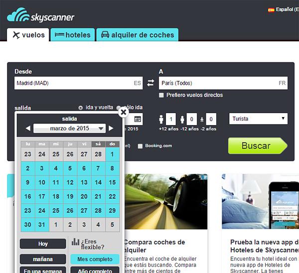 Formulario de búsqueda de vuelos baratos de la web de Skyscanner