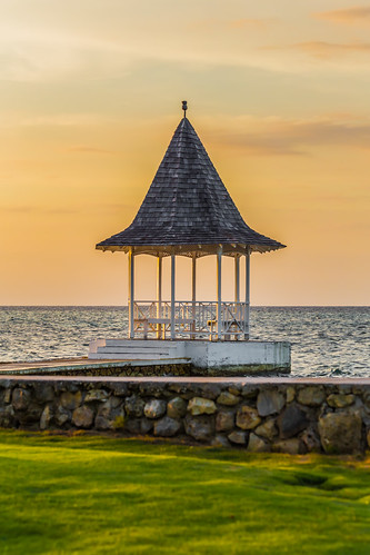 ocean sunset sky orange beach water gazebo jamaica
