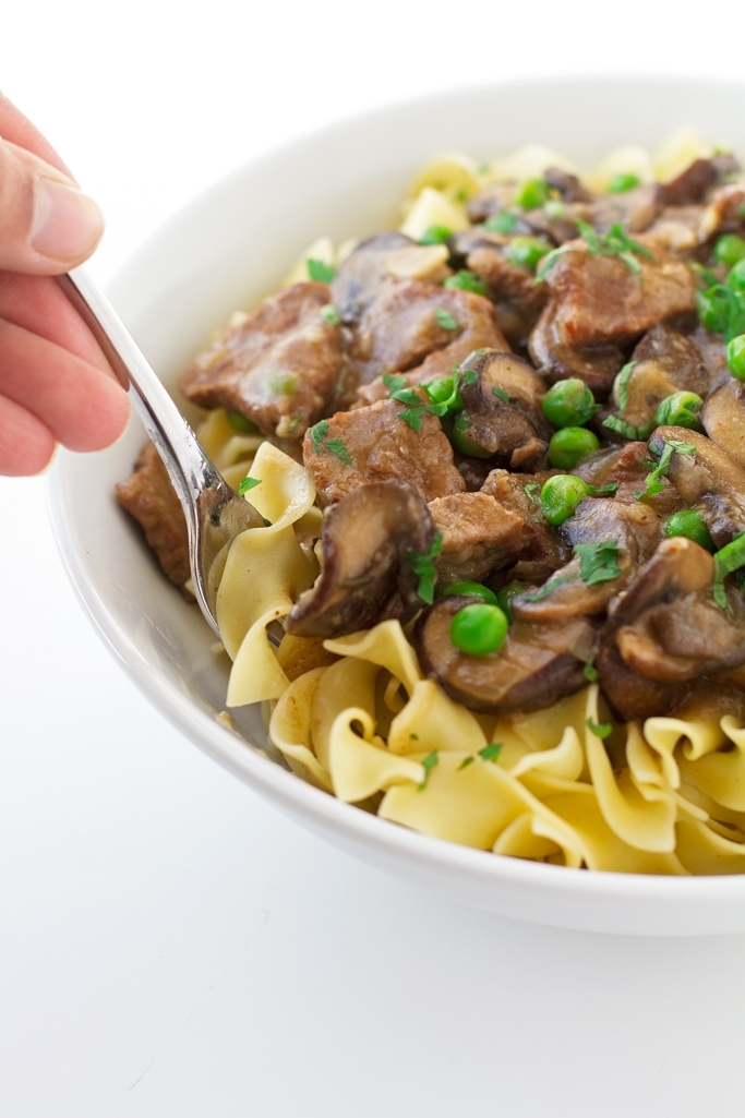 Beef Stew with Mushrooms Over Egg Noodles Recipe | Little ...