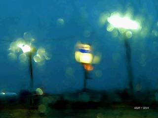 Gas Station Lights ~ Pepsi Sign ~ Rainting