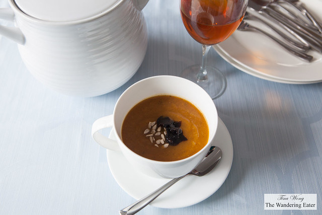 Pumpkin soup with black truffles