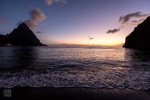 ocean sunset beach caribbean stlucia soufrière soufriere saintlucia