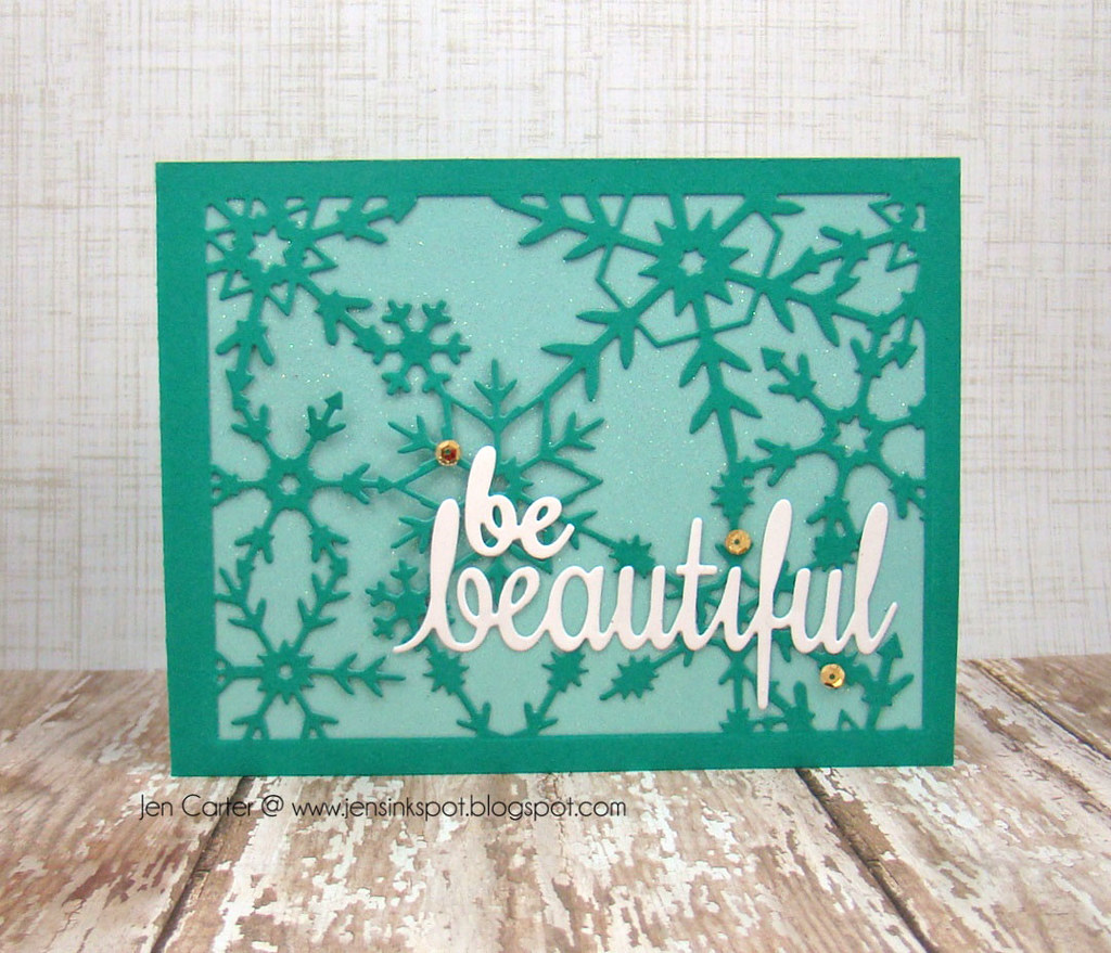 Jen Carter Frantic Stamper Reverse Snowflake Beautiful