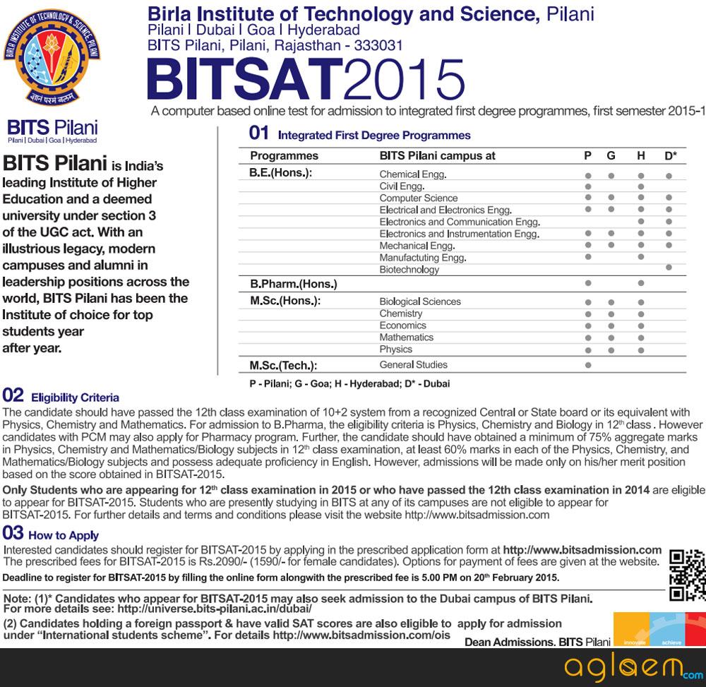 BITSAT Application Form Advertisement