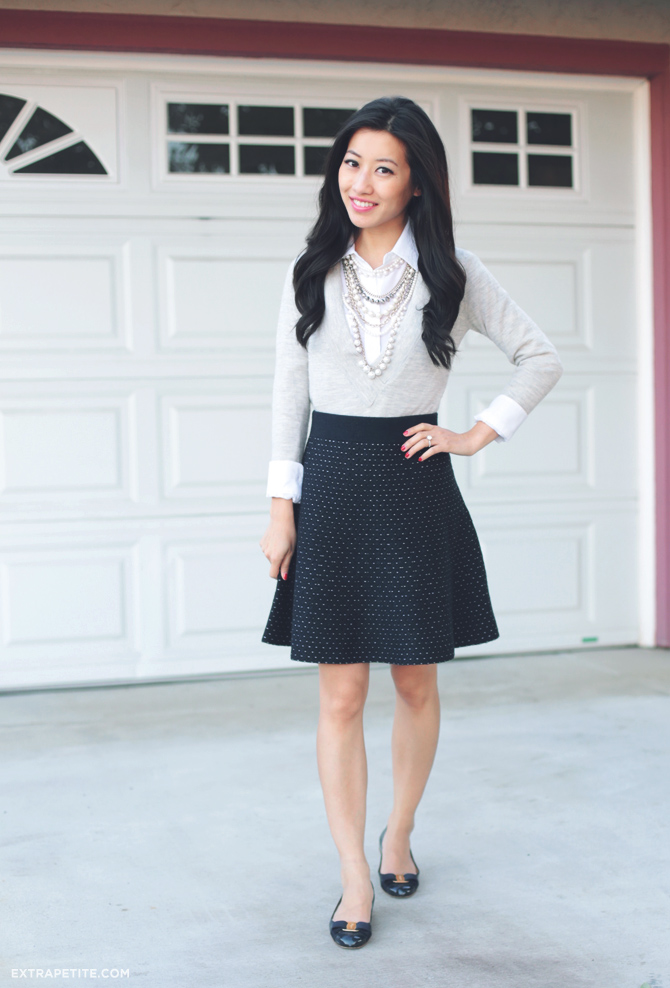 ann taylor dot sweater skirt
