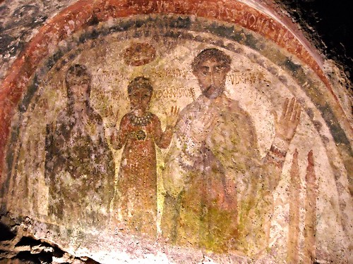 Sepulchre of Hilaritas (aged 45, mother), Nonnosa (aged 2 and months 10, daughter), Theotecnus (aged 59, father) - fresco end 5th-beginning 6th century - Catacombs of Saint January in Naples
