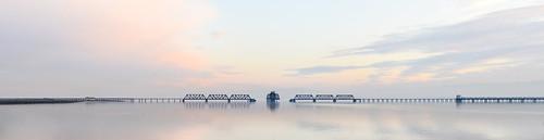 california bridge winter sunset panorama color water silhouette reflections bay nikon track view over january large rail panoramic southbay eastpaloalto stitched d800 dumbartonbridge 2015 boury pbo31 patrickboury