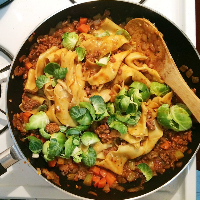 Blue Apron's Beef Bolognese with fresh pappardelle pasta and Brussels sprouts