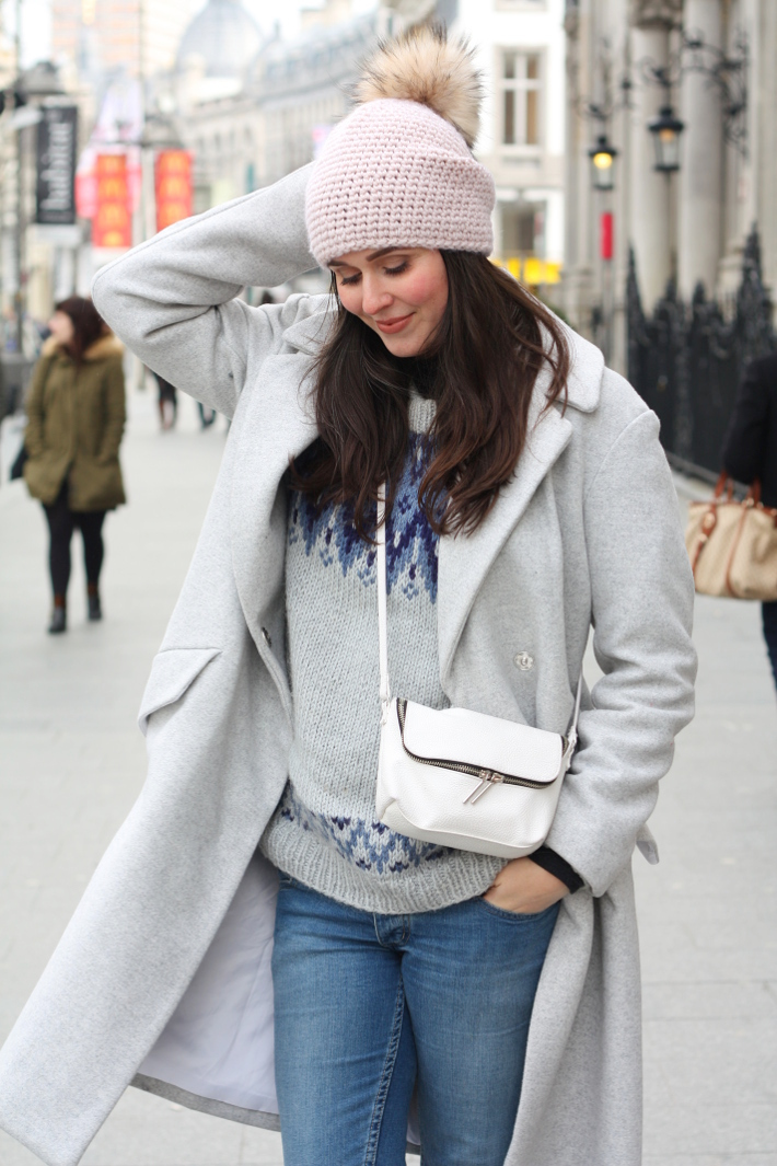 warm winter outfit: grey wool winter coat, fair isle knit, pom pom hat