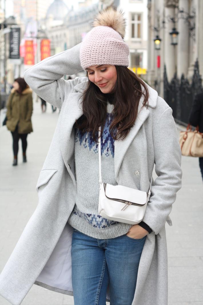 warm winter outfit: grey wool winter coat, fair isle knit, pom pom hat