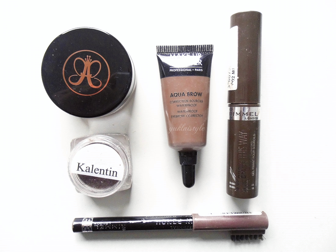 Brow favourites - Anastasia Beverly Hills Dipbrow Pomade, Kalentin Magic Eyebrow Definer, Make Up For Ever Aqua Brow, Rimmel Brow This Way Gel, Rimmel Professional Eyebrow Pencil