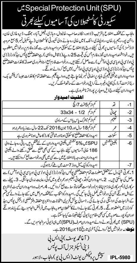 Special Protection Unit Punjab Jobs 2016