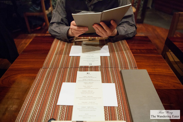 Table setting with our kaiseki menu