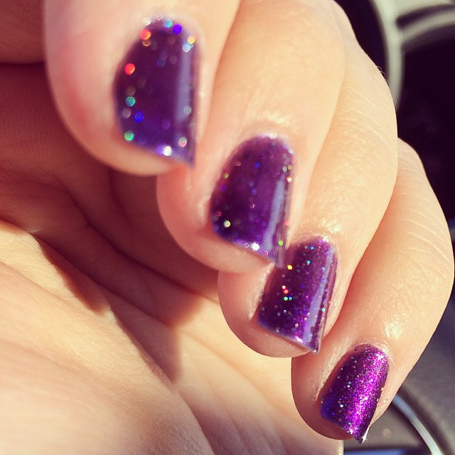 I'm obsessed. #LynBDesigns #OurLittleInfinity #nailpolish #purple #sparkle
