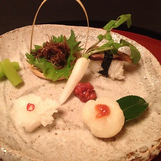 Daigo - shaved burdock root, maitake mushroom sushi, radish sushi, sweet flour ball