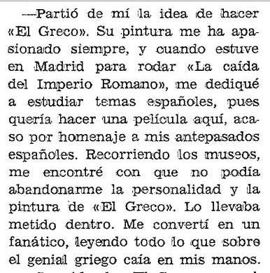 Extracto de la entrevista realizada por Miguel Veyrat a Mel Ferrer para <i>Blanco y Negro</i> publicada el 8 de agosto de 1964