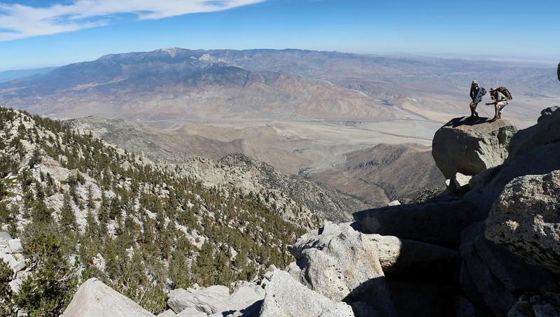 Maniacs on the edge of doom, while climbing San Jacinto Peak from Folly Peak.